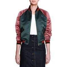 Tomas Maier Duchess Satin Colorblock Bomber Jacket ($1,450) ❤ liked on Polyvore featuring outerwear, jackets, rose, women's apparel jackets, raglan jacket, straight jacket, long flight jacket, blouson jacket and colorblock jackets