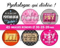 Psychologue qui déchire ! ☆ 45 Images Digitales Numériques RONDES 30 25 et 20 mm
