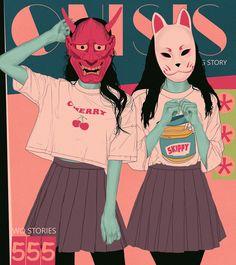 Illustration by Ana Godis Aesthetic Anime, Aesthetic Art, Pretty Art, Cute Art, Art Sketches, Art Drawings, Character Illustration, Illustration Art, Japanese Illustration