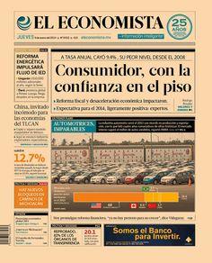 """""""Consumidor, con la confianza en el piso"""", en nuestra #PrimeraPlana de este jueves 9 de enero de 2014."""