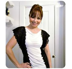 Tutorial: Lace trimmed tee refashion
