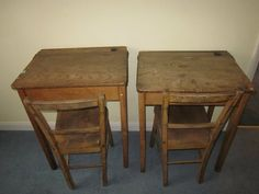 How cute are these #vintage school desks and chairs for a duo of diligent scholars to settle down in for some edification at home?