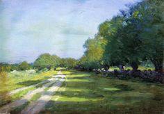 """""""Dim. chemin pommelé"""", huile sur toile de Arthur Wesley Dow (1857-1922, United Kingdom)"""