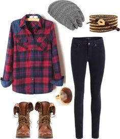 Flannel girl chick hay beanie winyer hat outfit boots brown natural jeweley casual fall winter spring outfit chill relaxed cool chic