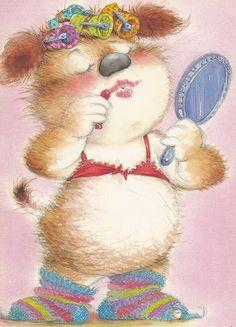 Lisi Martin Cute Animal Illustration, Illustration Art, Animal Illustrations, Illustration Mignonne, Gif Animé, Kawaii, Pretty Cats, Cute Art, Illustrators