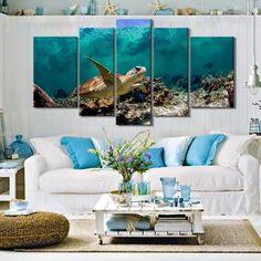 Turtle Under The Deep Blue Sea - 5 Piece Canvas Painting 5 Piece Canvas Art, Blue Canvas, Ocean Pictures, Ocean Pics, Deep Blue Sea, Diy Wall Art, Cool Diy, Art Sketches, Living Room Decor