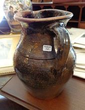 Early Jugtown North Carolina Penland Pottery Pitcher.  I am confused by this wonderful old piece of pottery.  Jugtown is in the eastern part of NC and Penland is in the western mountains.  Interesting.