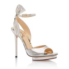 Charlotte Olympia Silver Ankle Strap Sandals ❤ liked on Polyvore featuring shoes, sandals, silver, leather shoes, metallic shoes, heels stilettos, metallic leather sandals and leather platform sandals #charlotteolympiaheelsmetallicleather