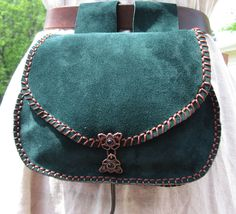 Leather Belt Bag Green Large, Hip Bag, Medieval Belt Pouch, SCA, Reenactments. $49.99, via Etsy.