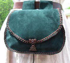 Leather Belt Bag Green Large, Hip Bag, Medieval Belt Pouch, SCA, Reenactments. $49.99, via Etsy.