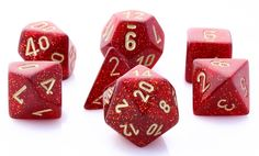 Role play your greatest adventures with Glitter Dice (Ruby Red). This RPG dice set is perfect for D&D, Pathfinder, and all games that require polyhedral dice. Includes all your favorites: d4, d6, d8,