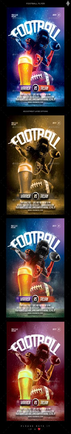 Football Flyer #rugby #template #superbowl  #bar #cup #sport • Click here to download ! http://graphicriver.net/item/football-flyer/16153685?ref=pxcr