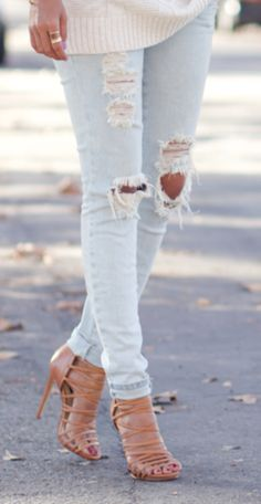 Distressed jeans and strappy heels...minus the sweater. #women's #fashion #summer