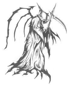 tribal grim reaper tattoo wicked cool image andrew tattoo idea rh pinterest com Grim Reaper Tattoo Stencil tribal grim reaper tattoos