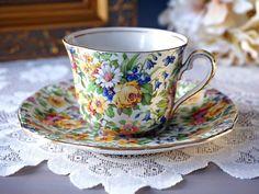 Royal Winton Grimwades Chintz Tea Cup and Saucer, BEDALE Teacup, Gold Trim…