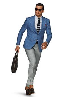 Spring/Summer Collection by Suit Supply. Der Gentleman, Gentleman Style, Blue Blazer Outfit, Blazer Jacket, Grey Slacks, Grey Pants, Black Trousers, Suit Supply, Bespoke Suit