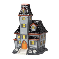 #HauntedHouse #Scentsy #Halloween Warmer. The grim centerpiece of your Halloween décor, Haunted House towers ominously over an eerie tombstone garden.  Three-piece Scentsy element warmer has removable top, where you place the Scentsy wax to scent your whole home.  Buy online at https://sattler.scentsy.us