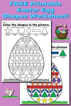 """Color the Shapes in the Easter Egg"" FREE Printable Worksheet!"