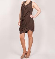 Vestido marrón OXMO asimétrico