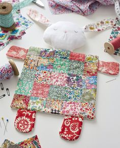 Liberty fabric patchwork bunny rabbit comforter baby blanket by Julie Rutter for Issue 20 of Love Patchwork & Quilting magazine