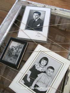 Take an old frame - thumbtack a piece of twine to the back, and randomly wrap the frame.  Add pictures.  She has many interesting frame ideas.