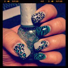 Zebra and Leopard Nail Design