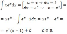 solving the integral of x·e^x by parts