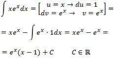 resolución de la integral xe^x por partes