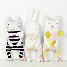 cat, bunny and polar bear soft toys - by PinkNounou