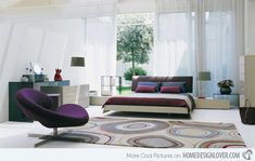 Fascinating Bedroom Design Inspirations By Roche Bobois : Modern White And  Purple Bedroom Open Design Ideas