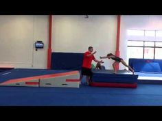 Drills for gymnastics and cheer coaches to help their gymnasts and cheerleaders learn how to perform a better front handspring when tumbling. Gymnastics Levels, Gymnastics Lessons, Gymnastics Academy, Gymnastics Room, Gymnastics Tricks, Tumbling Gymnastics, Gymnastics Coaching, Amazing Gymnastics, Gymnastics Workout