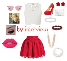 """""""TVs interview"""" by minions4ever123 ❤ liked on Polyvore featuring Lipsy, Tory Burch, Oliver Peoples, Lime Crime, Bling Jewelry, Chanel, Michael Kors, New Directions and Kenneth Jay Lane"""