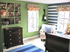 Blue and Green Contemporary Tween Boy- love the vintage sports signs- Matthew?