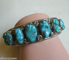 Vintage YAZZIE NAVAJO Sterling Silver TURQUOISE Cuff BRACELET signed DMY Atkinson Trading Company