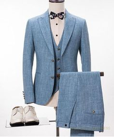 Linen Wedding Suits Plus Size 3-Piece Men's Suits Light Blue #menssuitsblue #menssuitswedding