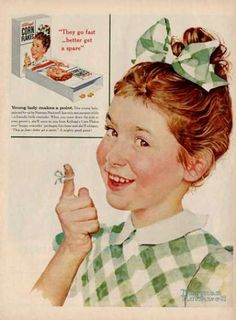 This is hanging in my kitchen! '55 Corn Flakes Kitchen Decor Girl Norman Rockwell Ad T (1955)