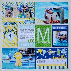 Project Life style layout using Pebbles Inc and some other fun goodies for a series of 6 similar swimming layouts! Created by Suzanna Lee