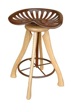 """Tractor Seat Stool"" a neat idea using axe handles, a tractor seat, and some acme thread."