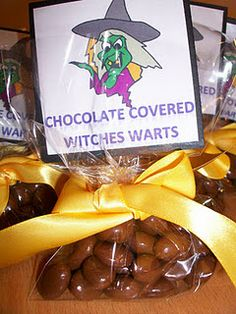 pinterest 365 day 126: chocolate covered witch warts!  love these, they look awesome in the bags and it's such a simple, easy to do idea ... inspiration from the website can't stop making things :)