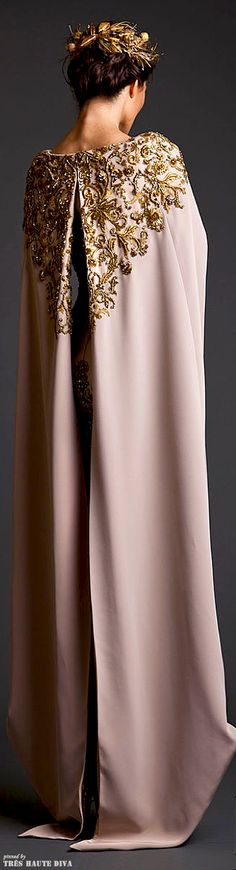 Krikor Jabotian Couture S/S 2014, It would be awesome if this was mainstream fashion. I know the seventies and sixties style is coming back, but this dress reminds me of medieval sort of regal gowns. It would be nice in the winter, but uncomfortable with desk jobs.