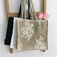 Hairpin Lace Crochet, Crochet Motif, Crochet Edgings, Crochet Shawl, Embroidery Bags, Flower Embroidery Designs, Shopping Bag Design, Lace Bag, Potli Bags