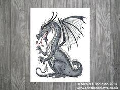 Dragon Art Print Silver Dragon Print Dragon Wall por TeethandClaws