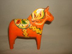 """1940's Swedish Hand Carved Wooden MAGIC DALA HORSE - Wide Head 5-1/2"""" Tall on Etsy, $39.95"""