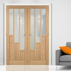 Coventry Oak Door Pair with Clear Safety Glass - Lifestyle Image.    #doubledoors #oakdoors