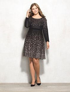 Plus Size Graphic Print Fit-and-Flare Sweater Dress