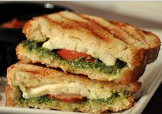Mozzarella, Pesto, and Tomato Grilled Cheese....YUMMY!