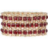 For #valentine Heirloom Finds Statement Cuff Bracelet Triple Row Ruby Red Crystal Gold Tone