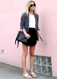 lucy williams look street style blazer listrado flats