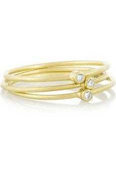 Jennifer Meyer Set of three 18-karat gold diamond rings | NET-A-PORTER