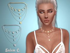 Lana CC Finds - Multirow Moon Necklace by salem